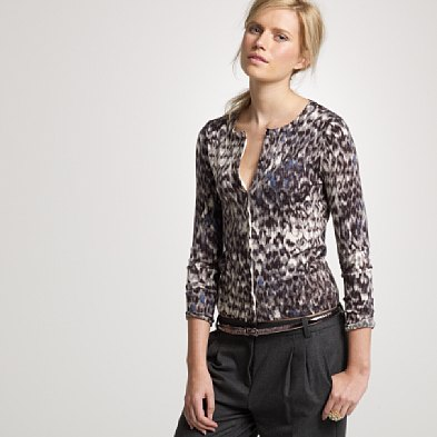 merino watercolor leopard cardigan